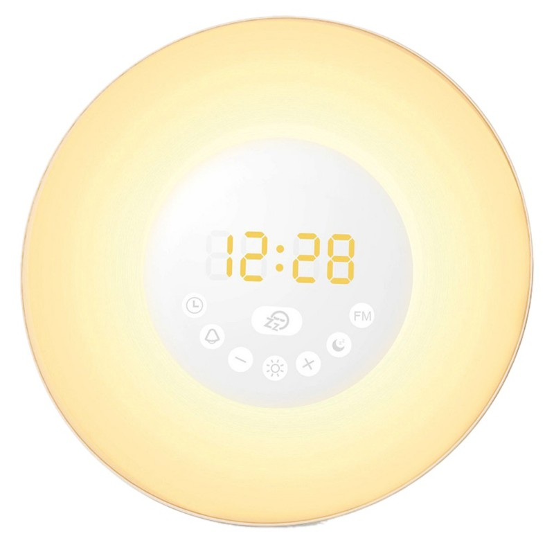 Alarm Clock LED Lights with Digital Alarm Clock Wake Up FM Radio Colorful Light Add Snooze Mode