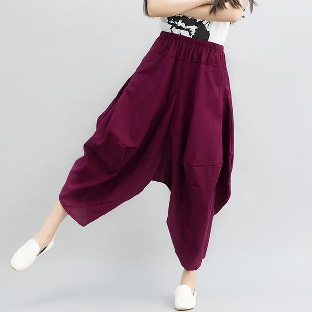 Calças de Linho De algodão Das Mulheres 2016 Mais Novo Casual Solta Harem Pants calças Perna Larga Bloomers pantalon femme grande