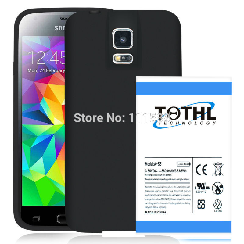 imágenes para High Quality 8800mAh TQTHL A+ Super Extended Battery + TPU Protective Case Cover  For Samsung Galaxy S V S5 i9600 G900T G900R4