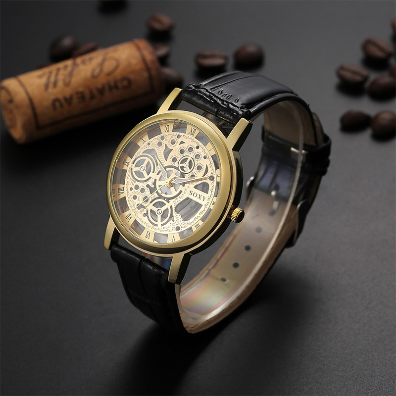 SOXY Brand Luxury Skeleton Watch Men Watch Fashion Men's Watch Leather Strap Clock saat relogio masculino erkek kol saati reloj