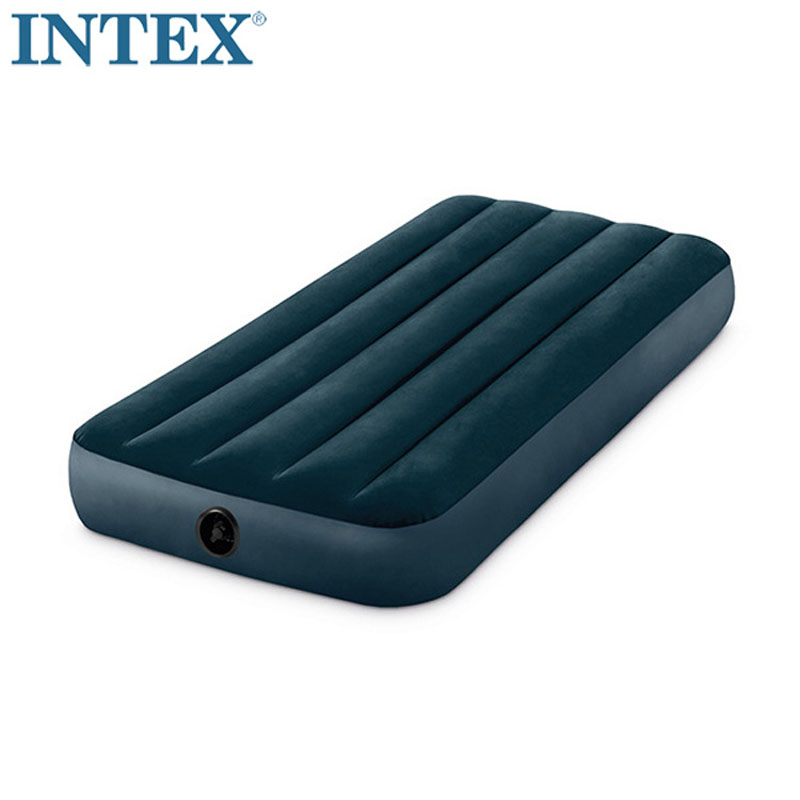 INTEX 64731 Single Person Use 76*191*25CM Flocking With Stripe Air Bed Inflatable Mat Air Mattress Camping Mat Bedroom Furniture otomatik çadır