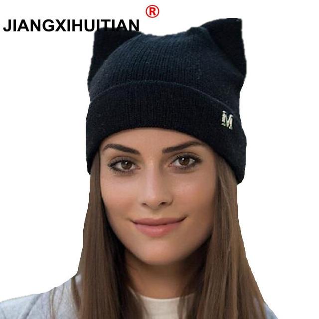 d876b81fe54 Winter Hats Knitted Hat Hot Ears Cat Girl High Fashion Women Wool Hat Women  Cap Caps