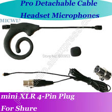 Detachable Cable Black ear hook Headset Microphone for Shure Wireless with 4Pin XLR mini connector ноутбук hp 15 da0386ur 15 6 1366x768 intel core i3 7100u 1 tb 8gb nvidia geforce mx110 2048 мб черный windows 10 home 6nc43ea