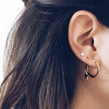 4pcs/Set 2018 Fashion Small Stars Pentagran Pendant Gold Hoop Earrings Set For Women Loop Statement Earrings For Girl(China)
