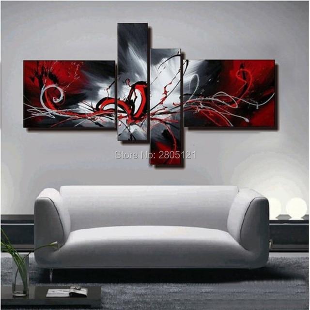hand bemalt abstrakten ölgemälde rot schwarz weiß leinwand ... - Wohnzimmer Rot Schwarz Weis