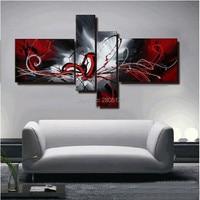 Peint à la main à l'huile abstraite peinture rouge noir blanc mur de toile art rouge noir mur photo modulaire peintures pour salon