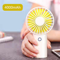 4000MAH Battery USB Handheld Mini Fan 3 Gears Silent Strong Wind Personal Air Cooler Small Portable Desktop Fans for Home Office