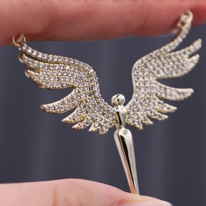 Image 3 - Charm Angel Wing Pendant Necklace For Women Full Micro Cubic Zirconia Paved 2019 Fashion Gold Color& Silver Color Angel Necklace