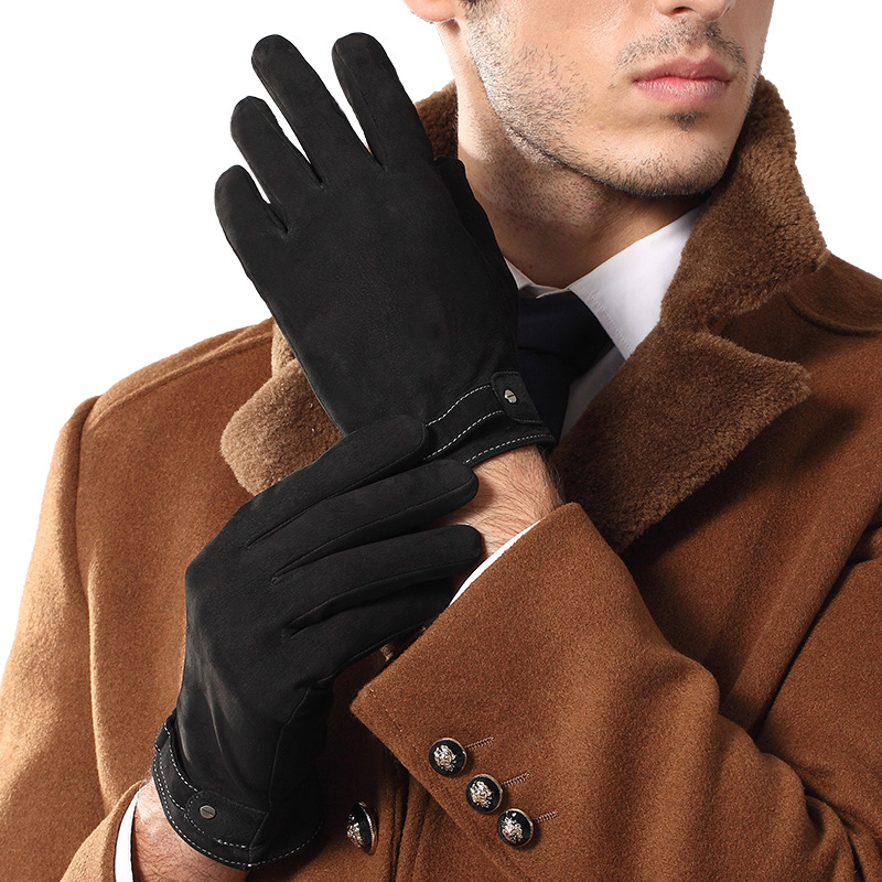 2019 NEW Genuine Leather Gloves Male Black Men Suede Sheepskin Gloves Autumn Winter Warm Plush Lined Driving Glove 9002