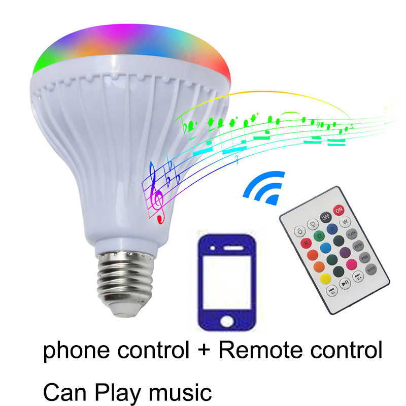 oobest E27 Smart LED Bulb RGB RGBW Wireless Bluetooth Speaker Bulb Music Playing Dimmable Light Lamp with 24 Keys Remote Control newstyle portable wireless audio bluetooth speaker music playing e27 dimmable led light bulb lamp with rf remote control brightness adjustable and volume up down for smartphones tablets pcs and other bluetooth enabled devices