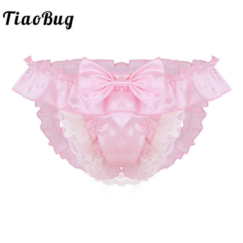 <font><b>TiaoBug</b></font> Men Soft Satin Crotchless Low Rise Bikini Briefs String <font><b>Homme</b></font> Gay Thong Sexy Underwear Open Back Sissy Panties Lingerie image