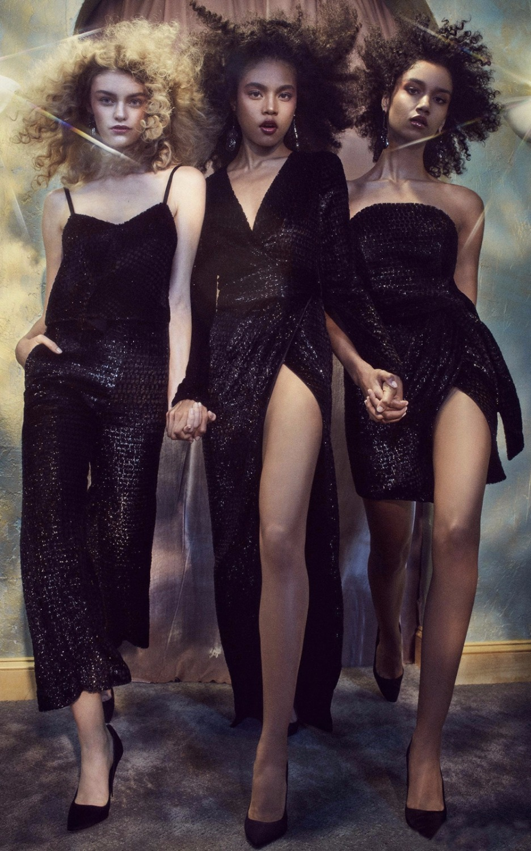 Style Bracelet Vintage Voile Femmes Paillettes Parti Noir Maille Détail Haute Robe Mystérieux Kleezy Divise By830 Manches Flare 76xR5wRq