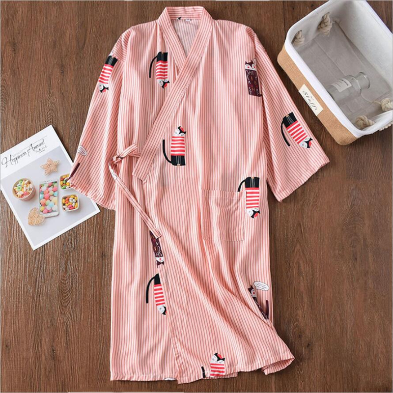 Summer Thin Womens Robes Sleepwear Kimono Bathrobe Ladies Japanese Wrap Dress Pajamas Casual Cotton Cardigan Vintage Nightgowns