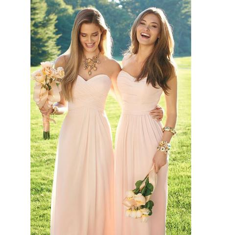 XH-43Beautiful Pink   Bridesmaid     Dress   Long 2018 Robe Demoiselle D'honneur Chiffon Sweetheart Zipper Back Off Shoulder Custom Made