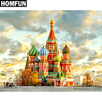 "HOMFUN Full Square/Round Drill 5D DIY Diamond Painting ""Russian Castle"" Embroidery Cross Stitch 5D Home Decor Gift A02611"