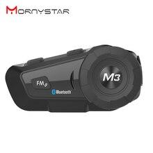 Mornystar m3 plus fone de ouvido de motocicleta, headset para capacete, bluetooth, estéreo multifuncional, dois sentidos, raido, fácil, série rider