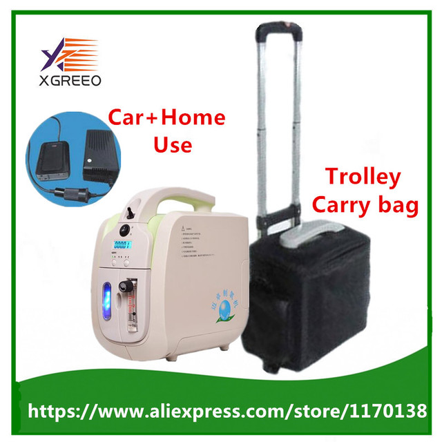 4 Batteries 110V-240V DC12V 5L Portable Oxygen Concentrator JAY-1 With rechargeable Battery + Car Adapter+Trolley Case+Carry bag