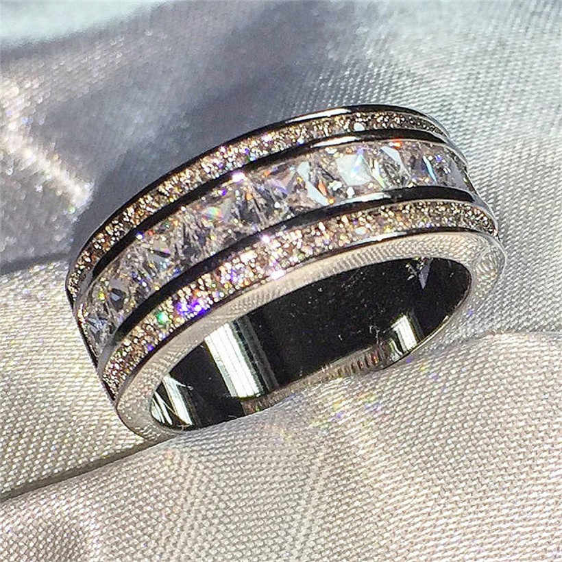 Wanita 'S Deluxe 10 K Emas Putih Berlapis Simulasi Diamond Garnet Crystal Batu Cincin Pernikahan untuk Wanita Jewlry Ukuran 5-10
