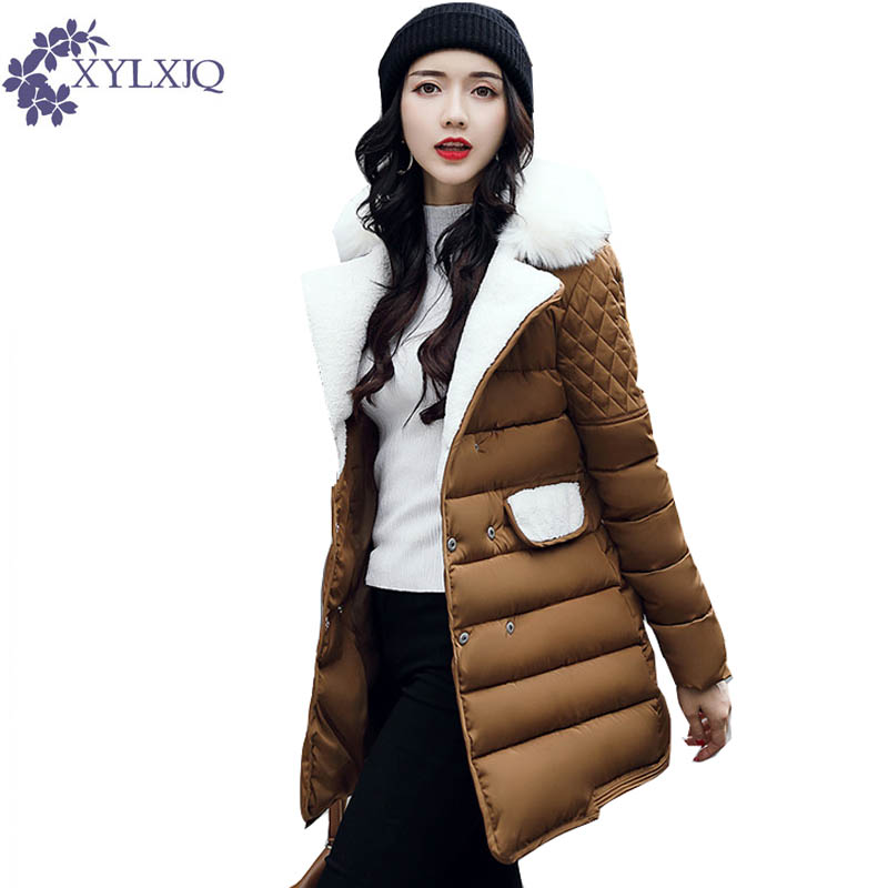XYLXJQ 2017 Long Slim Cotton-Padded Coat Plus Size Thick Jackets New Winter Jacket Women Fur Turn Down Collar Warm Coats HD013 new winter women jacket down cotton padded coat large faux fur collar parka outwear female plus size thick warm long coats ab435