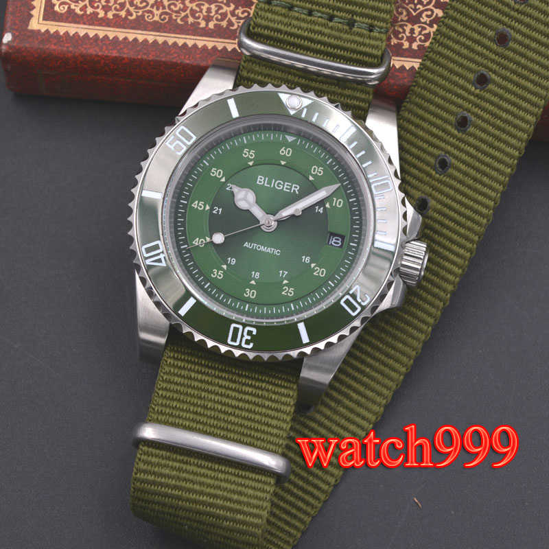 40mm BLIGER men watch green dial SUB ceramic bezel sapphire crystal luminous nylon strap  automatic men's watch
