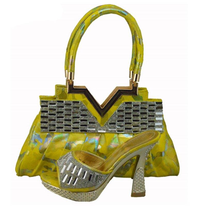 fuchsia Pour Les 2018 Sac Nigeria Femmes Partie Designer Sacs Orange De Et Avec jaune Chaussures Nouveau Le Italiennes Ensemble Strass Luxe Assortis Assorti tq1Px