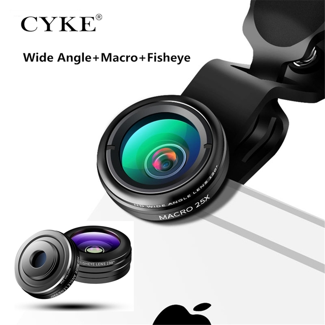 pretty nice 49fea 5a5c8 US $15.1 |CYKE Clip on 3in1 198 Degree Fisheye+25X Macro+Wide Angle Phone  Lens Kit For iPhone 8 7 6 iPad Camera Fish eye Lens Travel View-in Mobile  ...