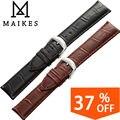 Maikes alta calidad relojes de pulsera reloj correa de piel genuina 18 19 20 22 24mm accesorios reloj de correas de reloj negro