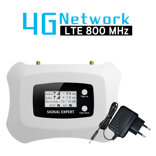 70dB Gain Band 20 4G Amplifier LTE 800 FDD Europe Mobile Phone Signal Booster Cell Phone Amplifier 4g LTE 800mhz Signal Repeater
