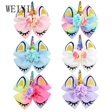 1Pcs 6.3 Inches Hairpin Headwear Colorful Girls Unicorn Collection Coral Large Hair Bows Accessories 885