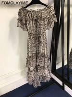 FOMOLAYIME Fashion Women Summer Dresses 2018 European New Designer Irregular Long Print Dress Female Slash Neck Vestidos