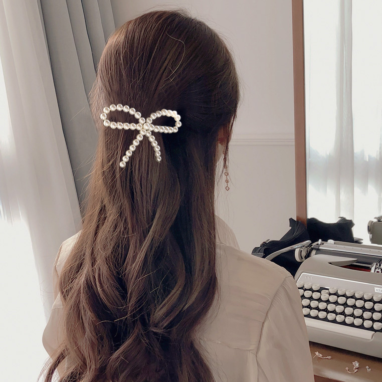 New Girls Hair Accessories Korean Imitiation Pearls Hair Clips for Women Geometric Round Moon Bows Hairpins Barrettes   Headwear