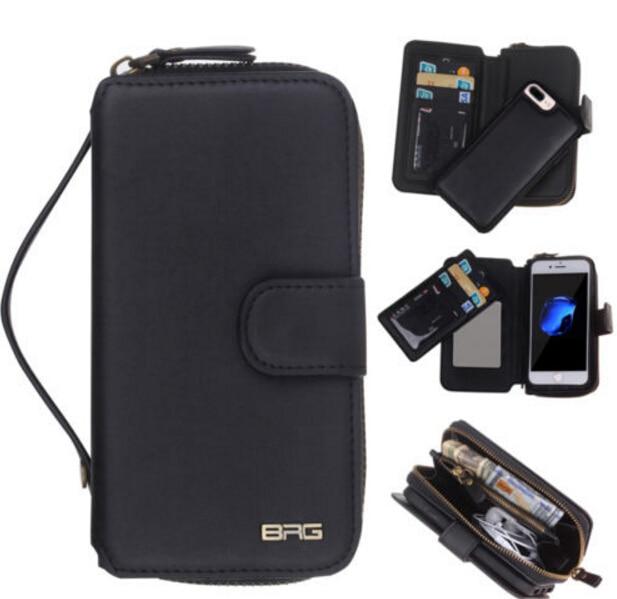 imágenes para BRG 5S Portátil Cremallera Monedero PU Funda de piel para Iphone 6 s Plus 7 Plus Con 2 en 1 Magnético Espejo Bolso de la Señora Del Monedero de la Bolsa