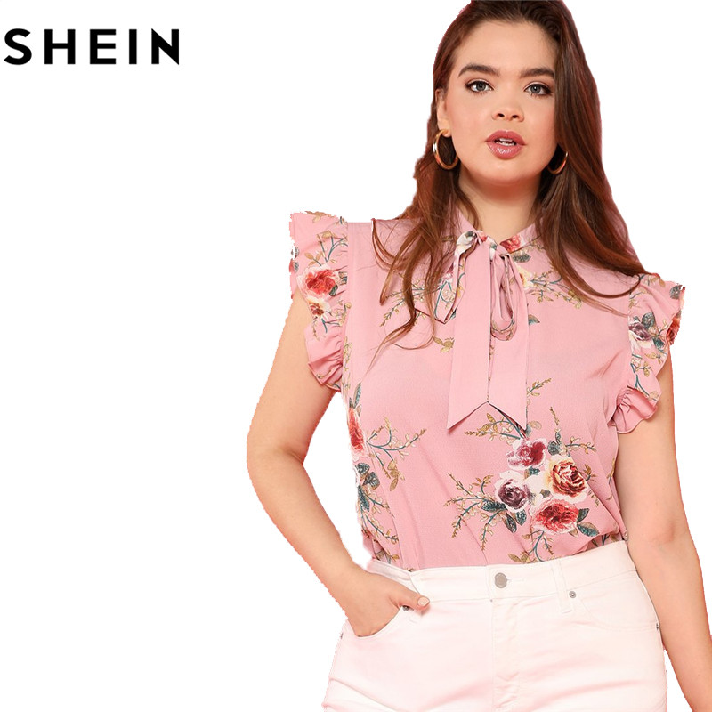 SHEIN Floral Print Pink Ruffle Sleeve Tie Neck Plus Size Elegant Women Blouses Summer Fashion Office Lady Sleeveless Top Blouse  5
