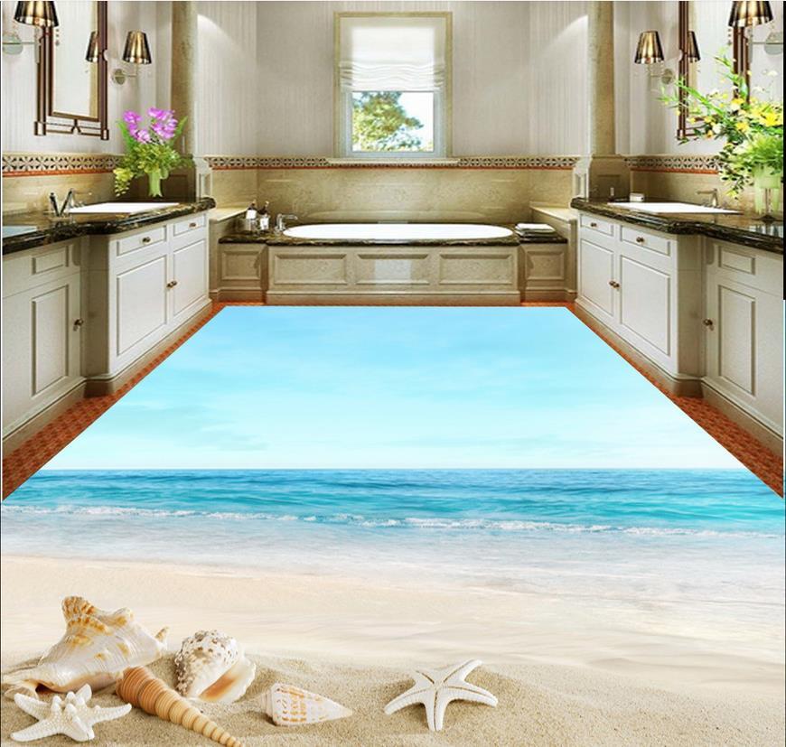3d floor painting wallpaper starfish beach 3d floor - Waterproof floor paint for bathrooms ...