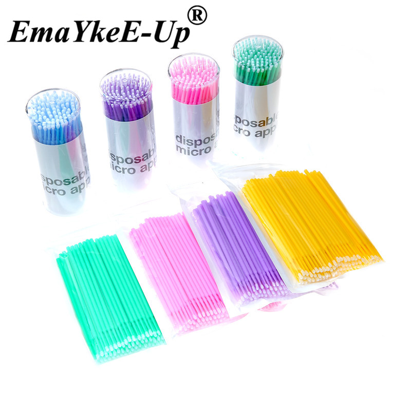 100Pcs Durable Micro Applicators Disposable Brush Individual Lash Removing Tools Swab Mini Brushes Makeup Eyelash Extension Tool