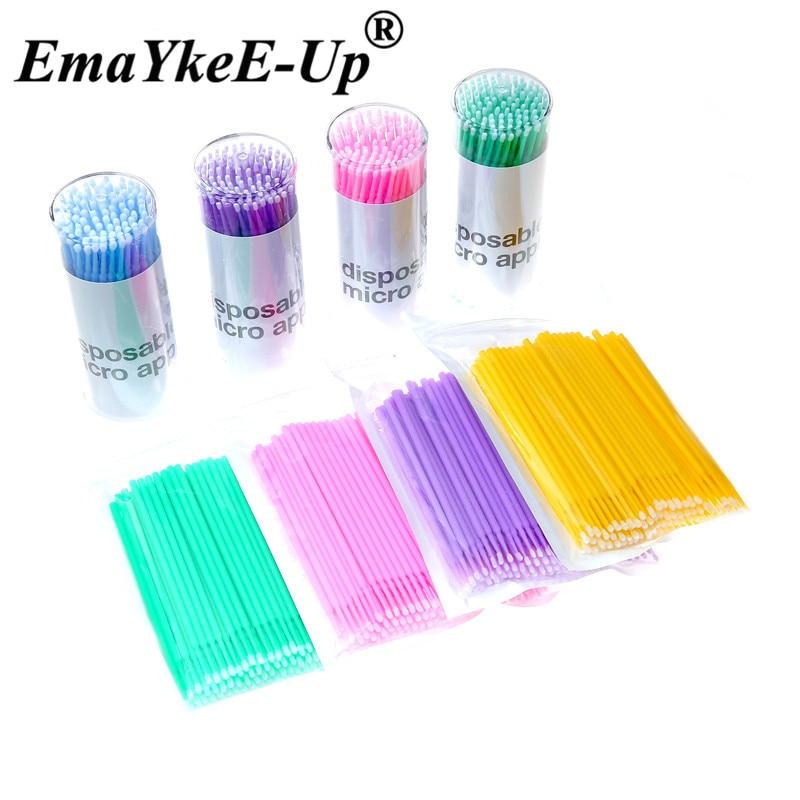 100Pcs Durable Micro Applicators Disposable Brush Individual Lash Removing Tools Swab Mini Brushes Makeup Eyelash Extension Tool