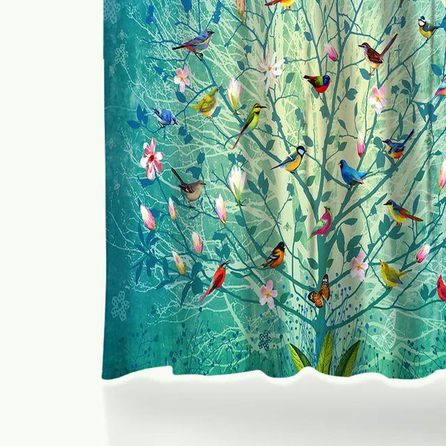 Cortinas de ducha de baño a prueba de agua con impresión Digital de pájaros de árbol de dibujos con 12 ganchos cortina decorativa para el hogar