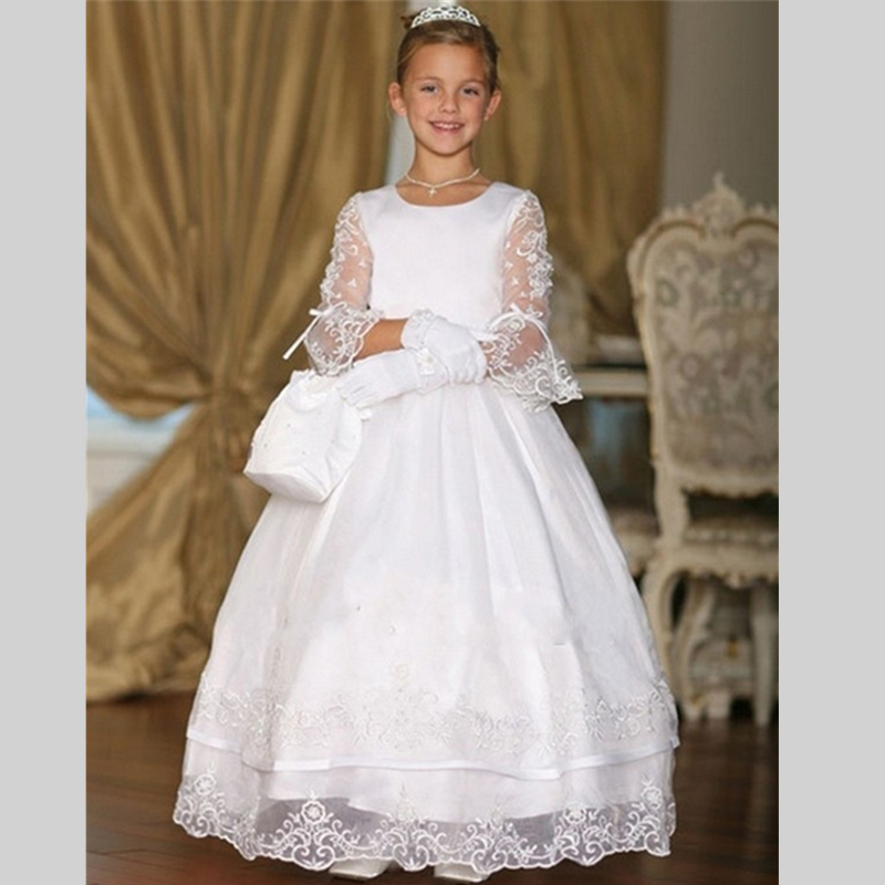 2017   Flower     Girl     Dresses   for weddings first communion   dresses   for   girls   Tulle Ball Gown Half Sleeve   girls   pageant   dresses