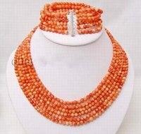 Свадебные мода украшения женская 6 строки живописные коралловые бусины ожерелье и браслет замечательный дворянство прекрасно свадебный сч