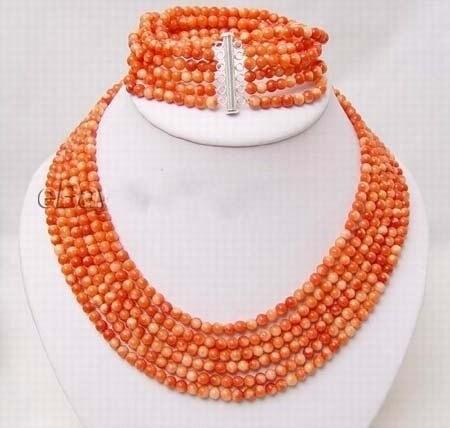 Bijoux de mode de mariée femmes 6 cordes fines perles de corail collier et bracelet merveilleuse noblesse mariage fin chanceux femmes