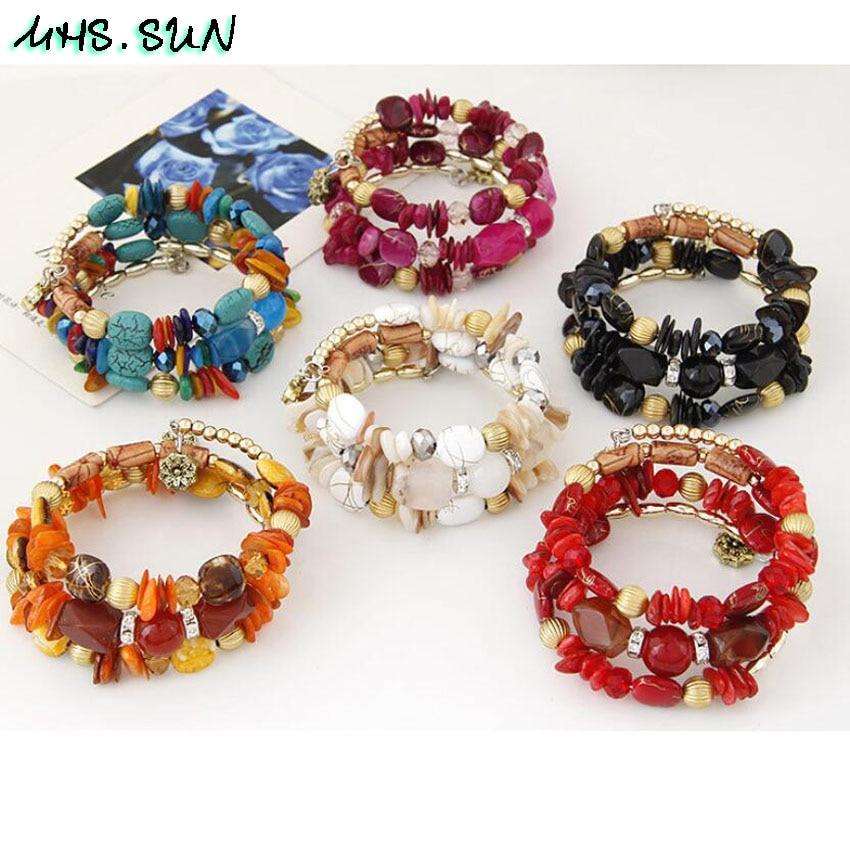 10-2 Bohemian Women Layered Bracelets Fashion National Stone Beaded Shell Bracelets Charm Ethnic Jewelry Female Party Gift