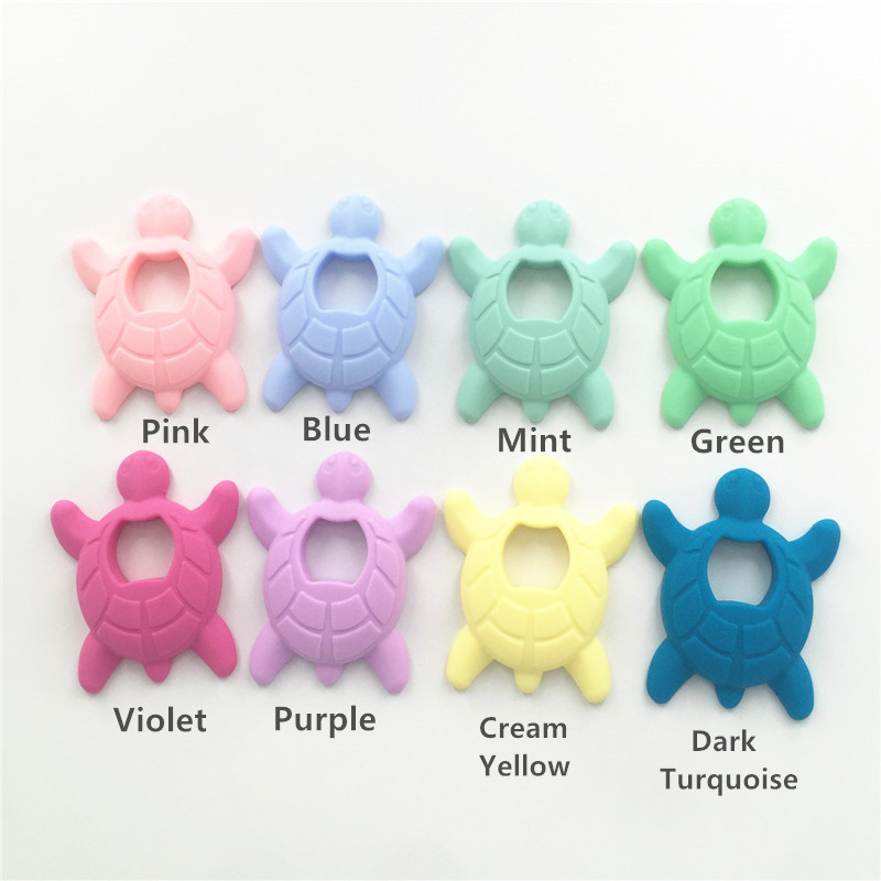 10 SZTUK BPA Darmowe Silikonowe Żółwia Ząbkowanie Wisiorek Żucia - Opieka nad dzieckiem - Zdjęcie 2