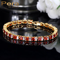 4 Color Option Fashion Ladies Big Square Red And White Stone Summer Tennis Cubic Zirconia Bracelet With Gold Plated Jewelry B104