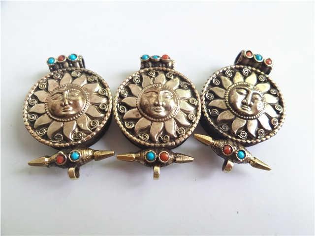 TGB034 Caja de oración de flores de Dios del Sol de plata tibetana - Bisutería - foto 3