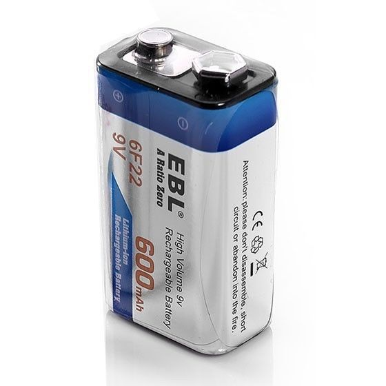 2pcs EBL 600mAh 9v Rechargeable Battery + 18650 Battery Charger For 6F22 18650 AA AAA NIMH NICD Li-ion Battery free shipping