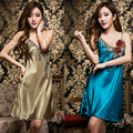 The New Summer Dress Lady Sleeveless Silk Sexy Female Sling Deep V Collar Home Furnishing Sexy Lingerie Sleepwear