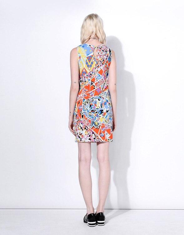 2016 frühling sommer Neue Ankunft Elastische Kleid Damen Eleganter Geometric Print Plus größe XXL ärmellos Stretch Tag Kleid-in Kleider aus Damenbekleidung bei  Gruppe 2