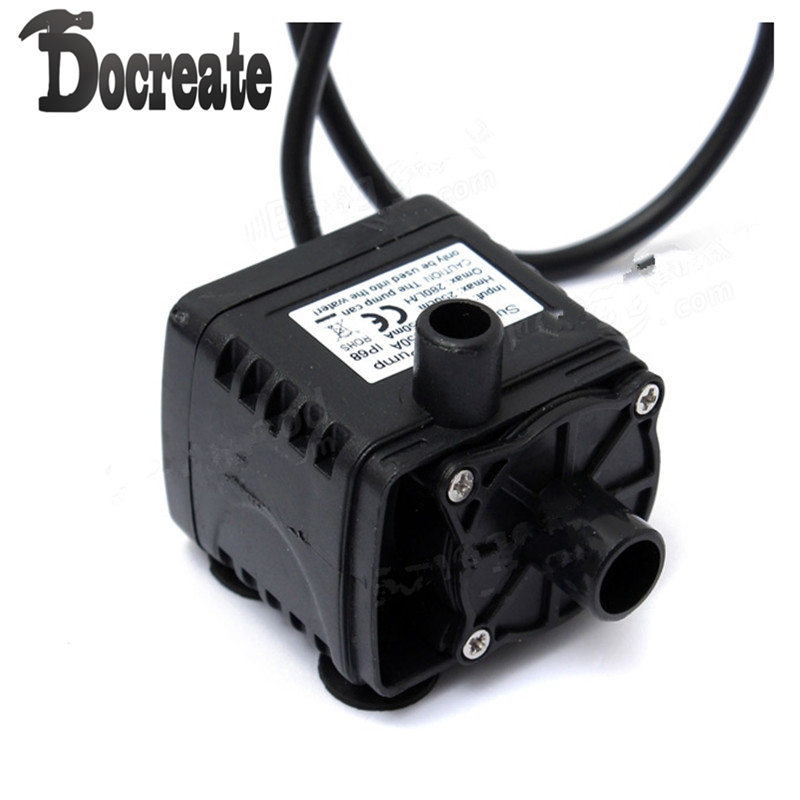 12V DC CAR Brushless Water Oil Waterproof Submersible CPU Cooling Pump Black 12v dc electric mini water circulation pump brushless motor submersible pump for hydroponics medical cooling 280l h car styling