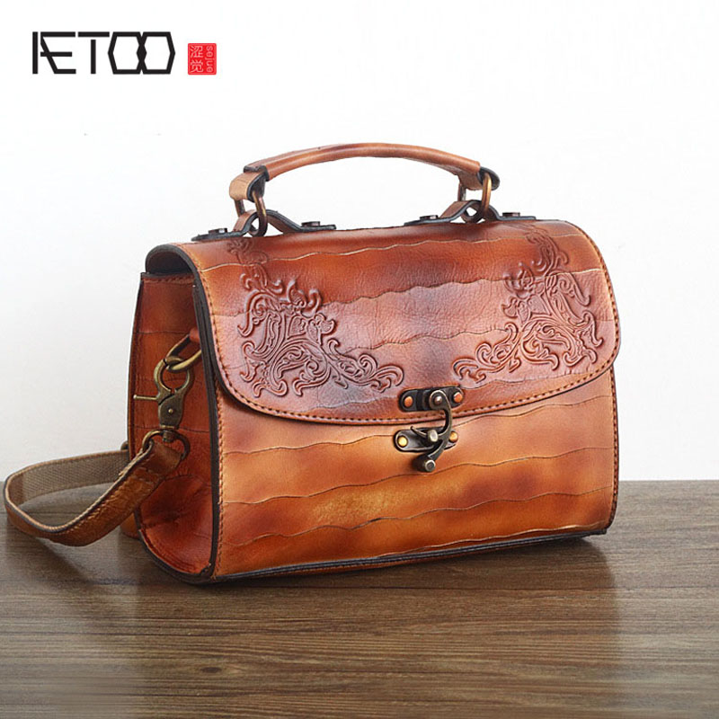 AETOO Ancient leather handmade wiping oblique cross package import tanned leather hand bag head layer of leather shoulder bag ha aetoo japan and south korea personality first layer of planted tanned leather handbags handmade wiping shoulder bag computer