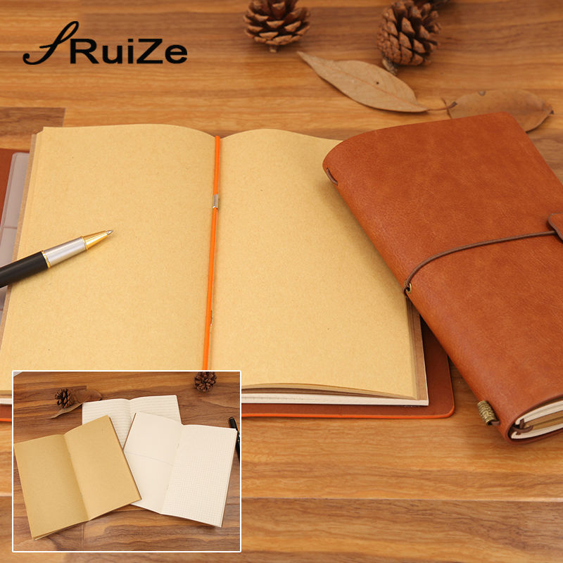 RuiZe Vintage travel journal leather traveler's notebook A6 handmade note book with three kinds paper school creative stationery
